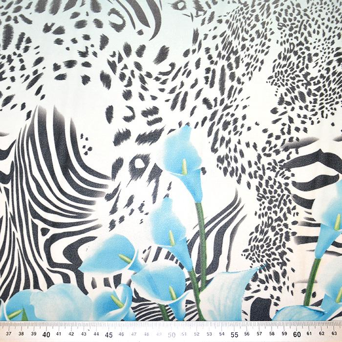 Šifon, poliester, cvjetni, 19546-7, plava
