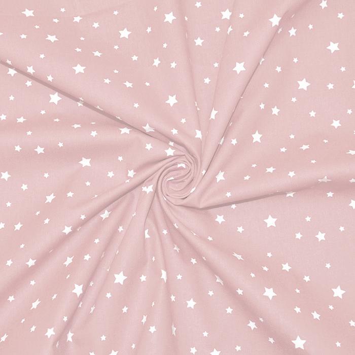 Pamuk, popelin, zvijezde, 15933-6, ružičasta
