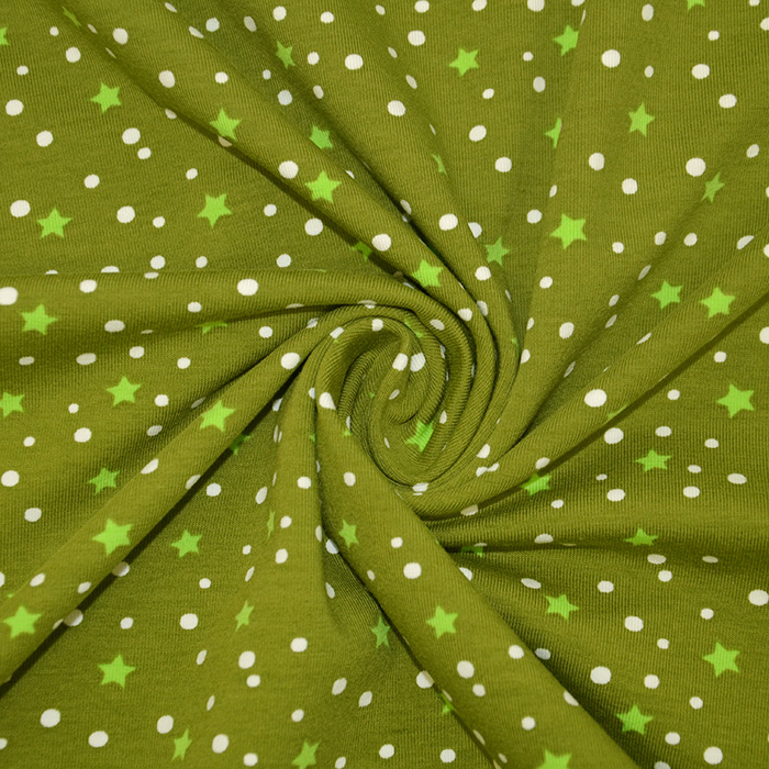 Jersey, bombaž, zvezde, 19096-3006, zelena