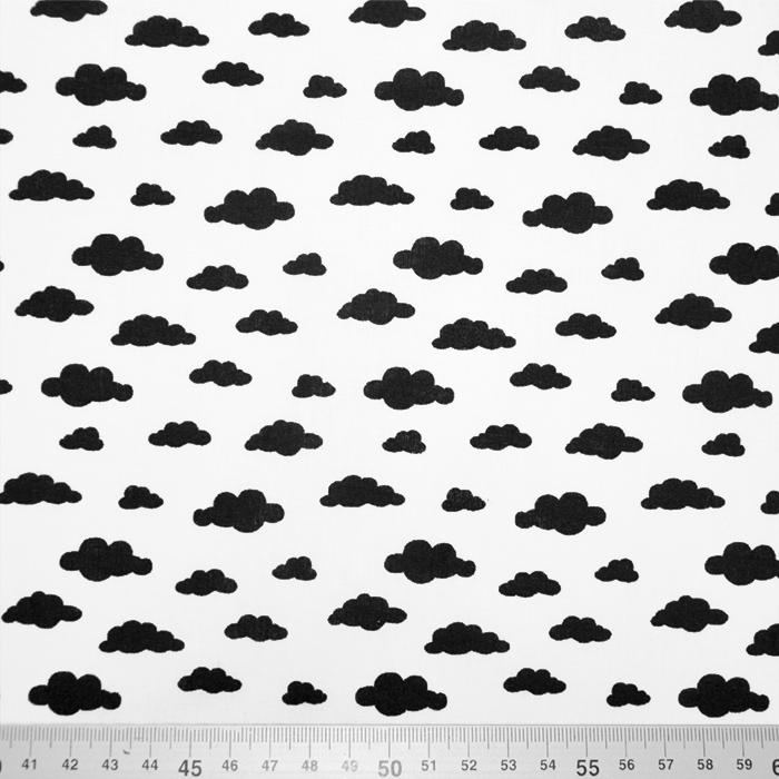Bombaž, poplin, oblaki, 19578-1, črno bela