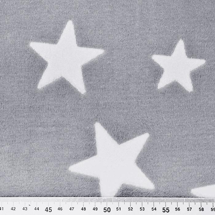 Velur coral, obojestranski, zvezde, 15986-972, siva