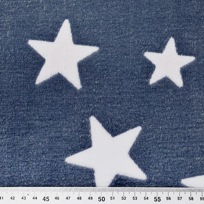 Velur coral, obojestranski, zvezde, 15986-973, modra