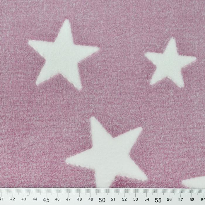 Velur coral, obojestranski, zvezde, 15986-971, roza