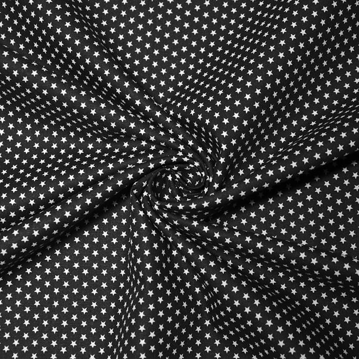 Bombaž, poplin, zvezde, 19657-001, črna