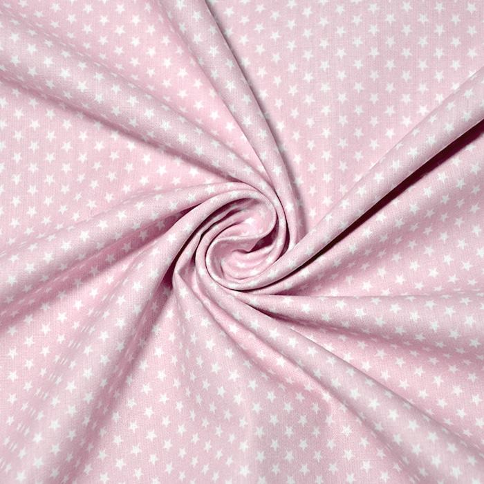 Bombaž, poplin, zvezde, 19657-012, roza