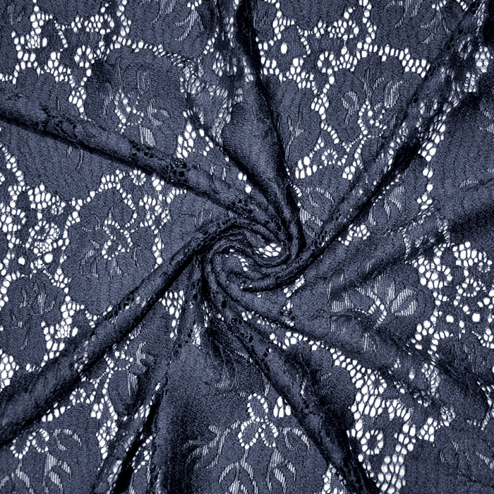 Čipka, elastična, cvetlični, 19726-008, temno modra