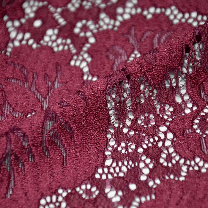Čipka, elastična, cvetlični, 19726-018, rdeča