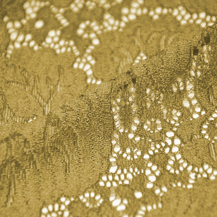 Čipka, elastična, cvetlični, 19726-037, rumena
