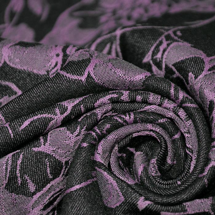 Tkanina, elastična, cvetlični, 19724-013, vijola