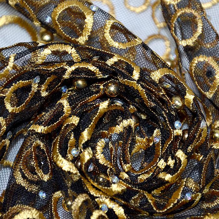 Čipka z bleščicami, krogci, 19875-080, zlata