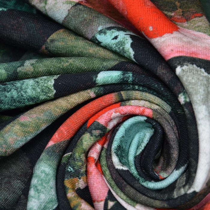 Jersey, bombaž, digital, abstraktni, 19957-001, črna