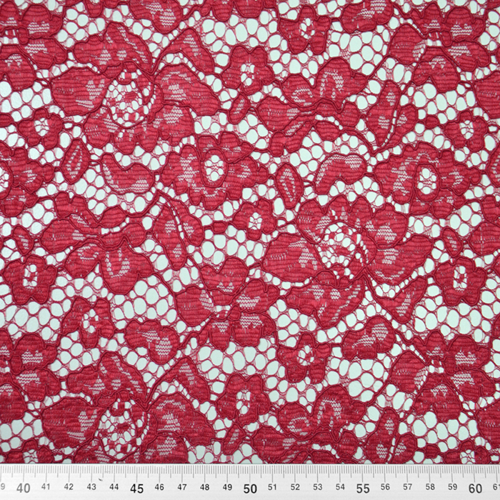 Čipka, cvetlični, 19967-010, bordo