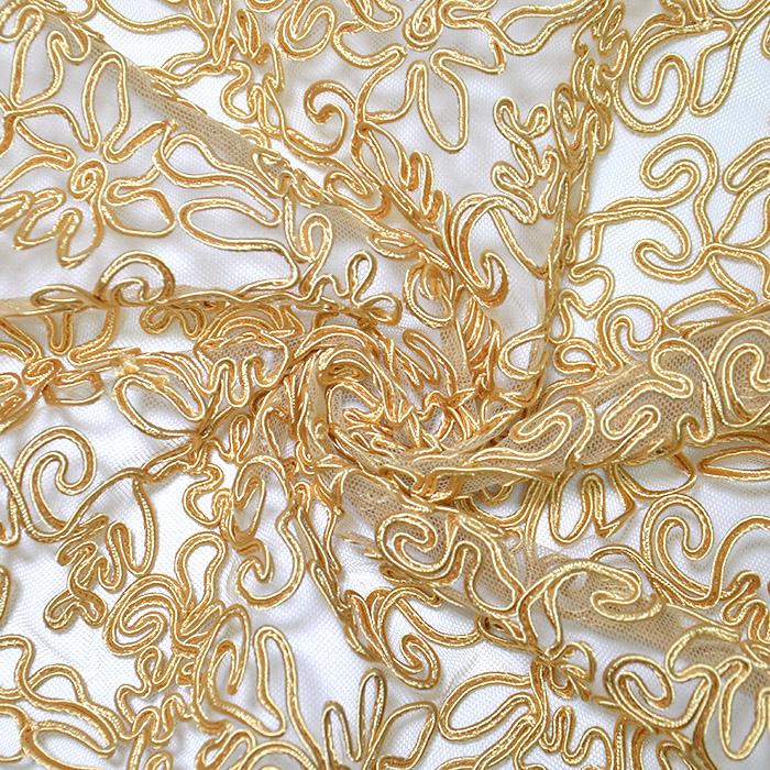 Čipka, prožna, cvetlični, 20017-080, zlata
