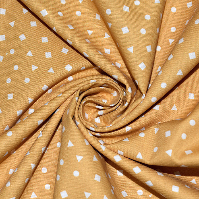 Bombaž, poplin, geometrijski, 20061-8, rumena