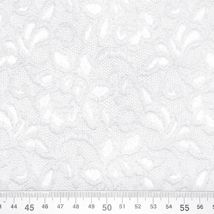 Čipka, elastična, cvetlični, 20083-050, bela