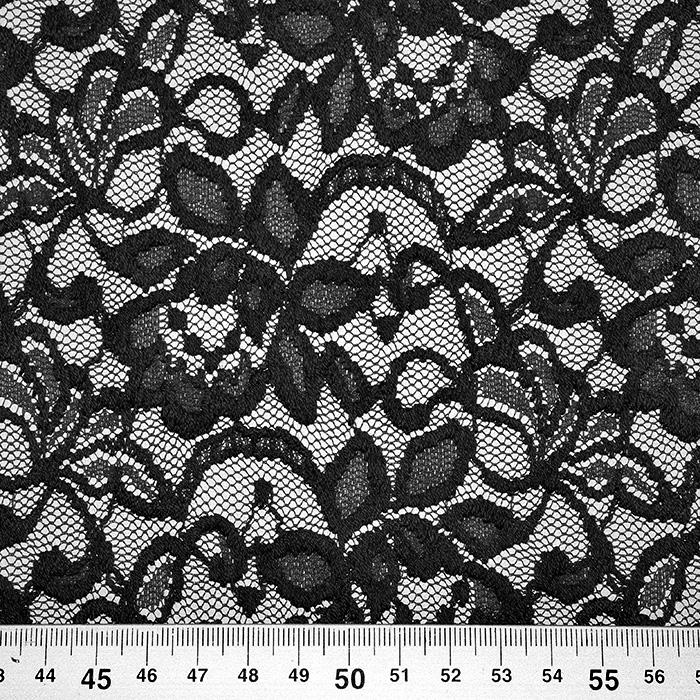 Čipka, elastična, cvetlični, 20083-069, črna