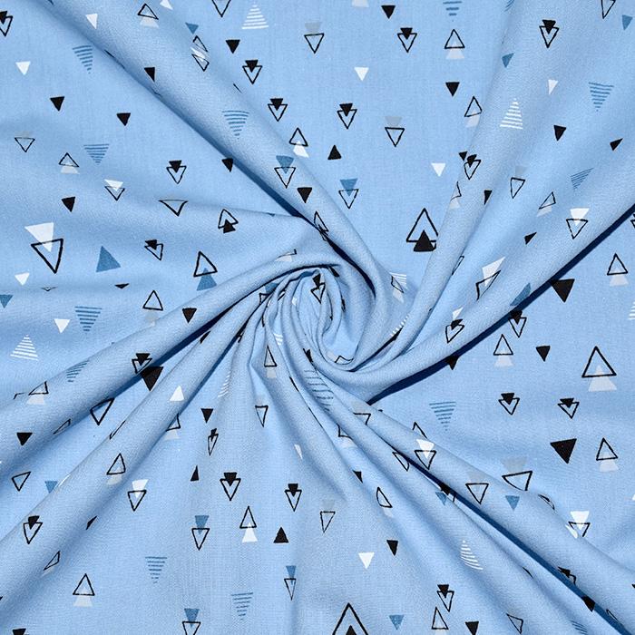 Bombaž, poplin, geometrijski, 20093-003, modra