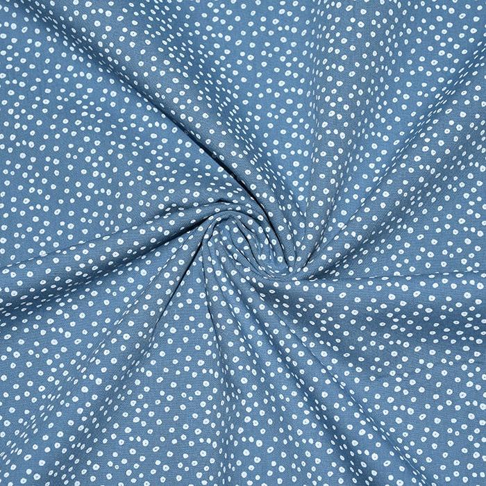 Bombaž, poplin, pikice, 20088-006, modra