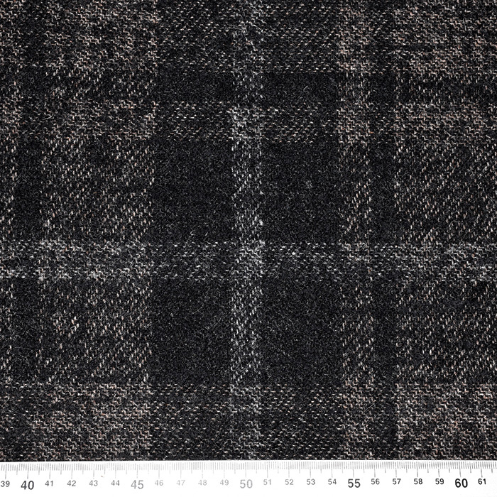 Volna za plašče, kare, 20136-60, črno rjava