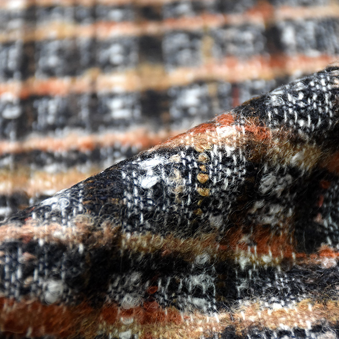 Volna za plašče, kare, 20138-56, rjavo oranžna