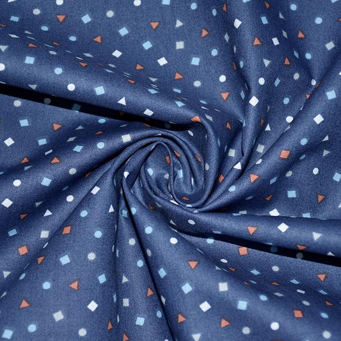 Bombaž, poplin, geometrijski, 19469-7, modra