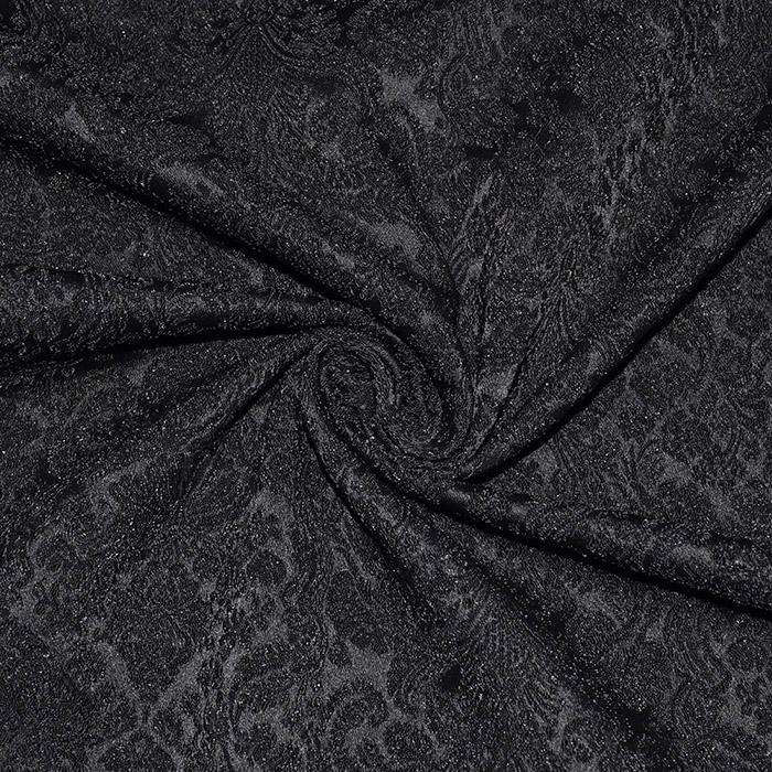 Žakard, obojestranski, ornamentni, 20130-2, črna