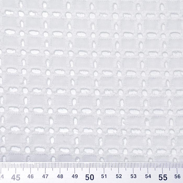 Bombaž, rišelje, geometrijski, 20188-8, bela