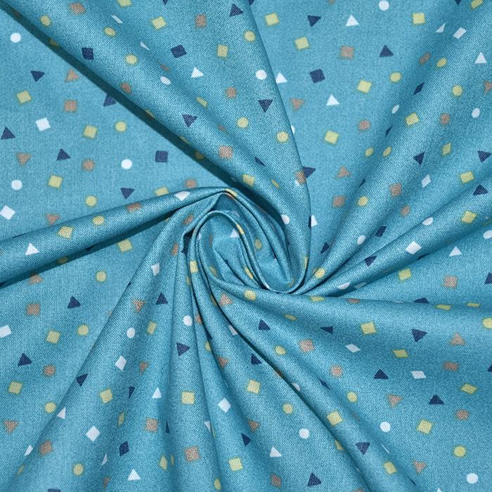 Bombaž, poplin, geometrijski, 19469-5, modra