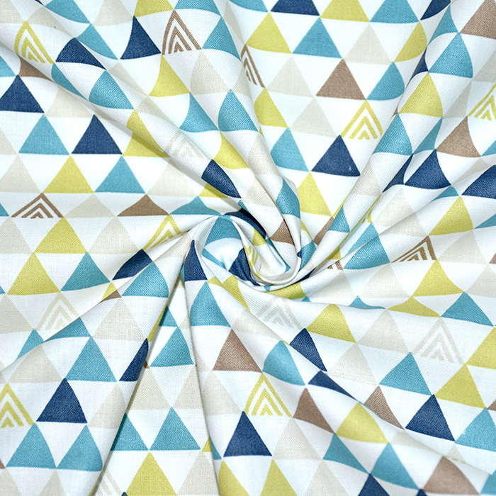 Bombaž, poplin, geometrijski, 20196-2, bela