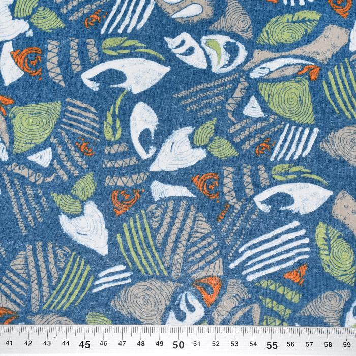 Bombaž, poplin, abstraktni, 2650-74, modra