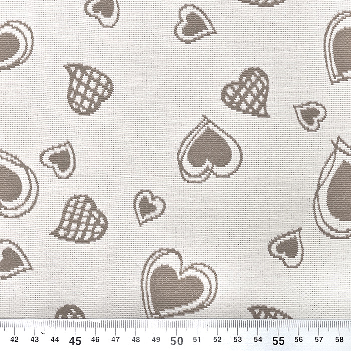 Deko žakard, srčki, 20215-123, bež