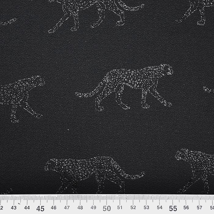 Šifon krep, živalski, 20169-999, črna