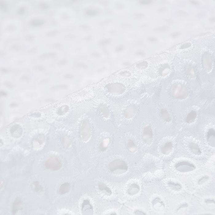 Bombaž, rišelje, cvetlični, 20188-4, bela