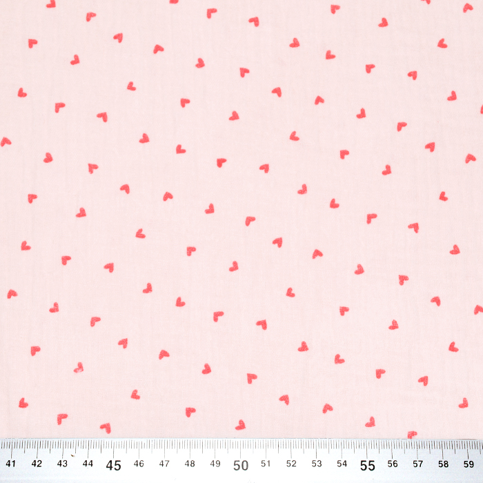 Tetra tkanina, dvojna, srčki, 20383-003, roza