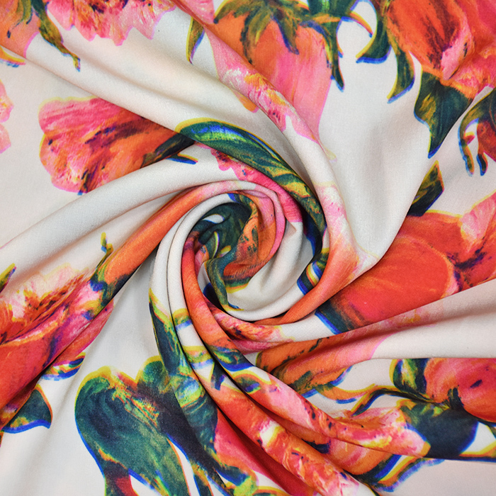 Tkanina, mikrosaten, cvetlični, 20396-001