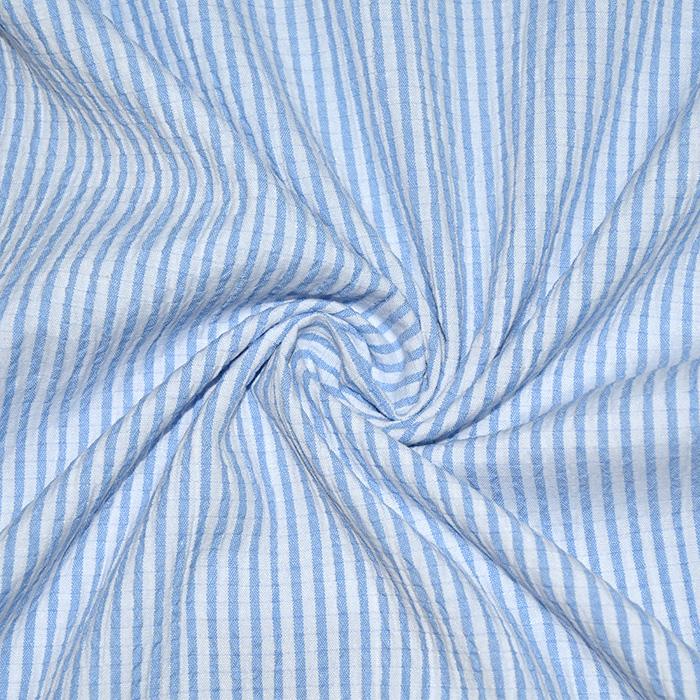 Bombaž, mečkanka, črte, 20533-003, svetlo modra