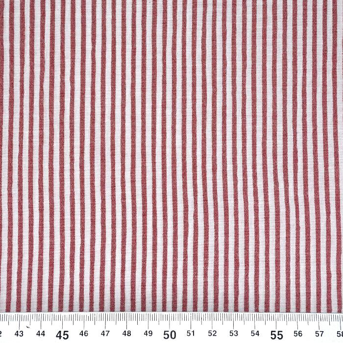 Bombaž, mečkanka, črte, 20533-015, rdeča