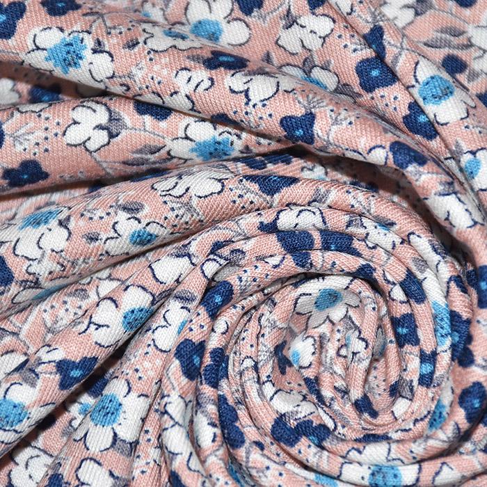 Jersey, viskoza, cvjetni, 20538-011, ružičasta