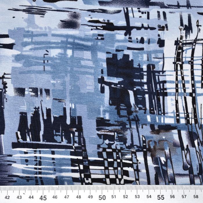 Jersey, viskoza, abstraktni, 20540-006, modra