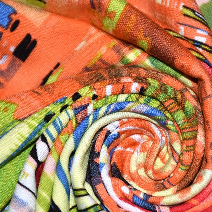 Jersey, viskoza, apstraktni, 20540-036, narančasto zelena