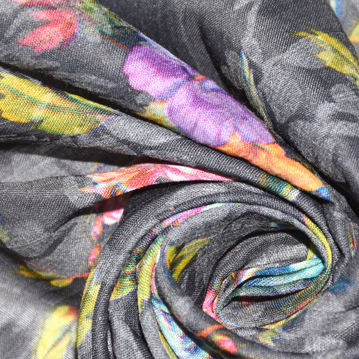 Bombaž, mečkanka, cvetlični, 20550-054, siva
