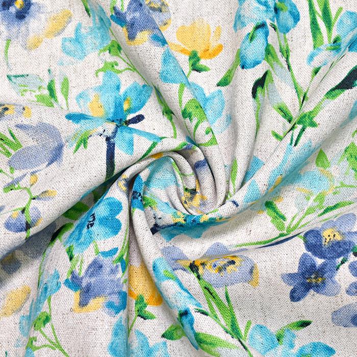 Lan, viskoza, cvetlični, 20557-006, turkizna