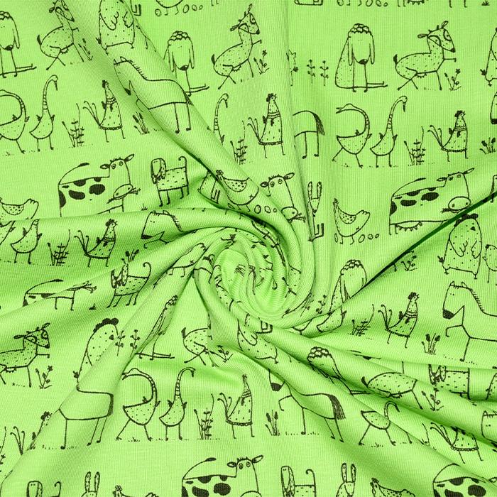 Jersey, bombaž, živalski, 18274-10, zelena