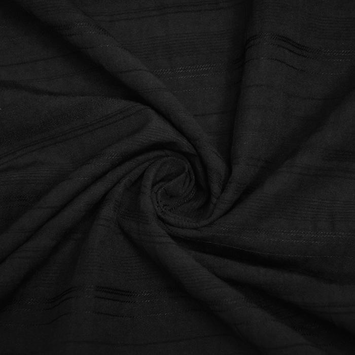 Bombaž, poplin, elastan, črte, 20654-1, črna