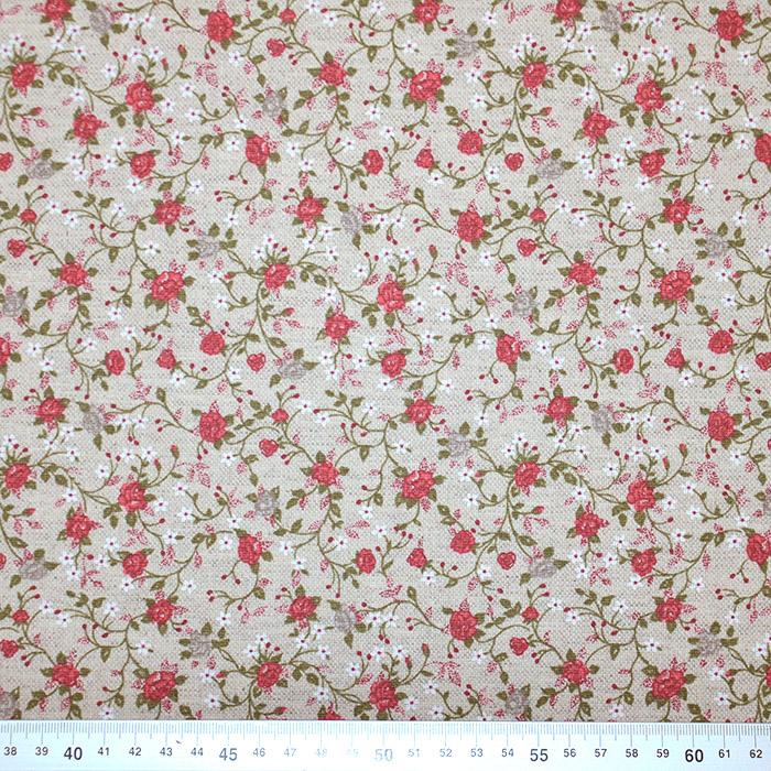 Deko, tisk, impregniran, cvetlični, 18277-6208, rdeča