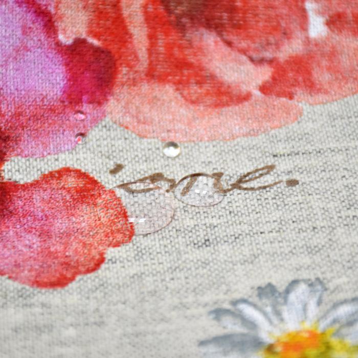 Deko, tisk, impregniran, cvetlični, 18277-6001, rdeča