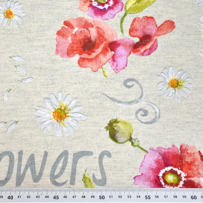 Deko, tisak, impregniran, cvjetni, 18277-6001, crvena