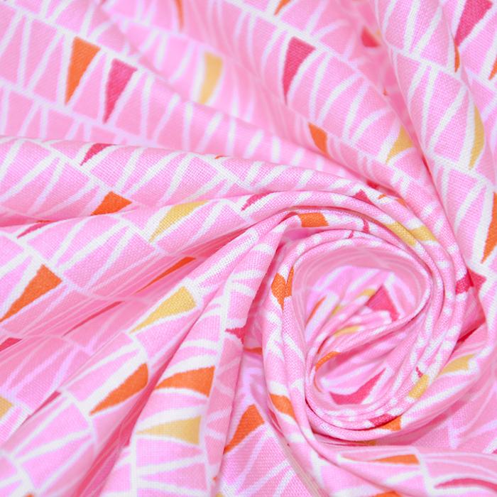 Bombaž, poplin, geometrijski, 20833-4, roza
