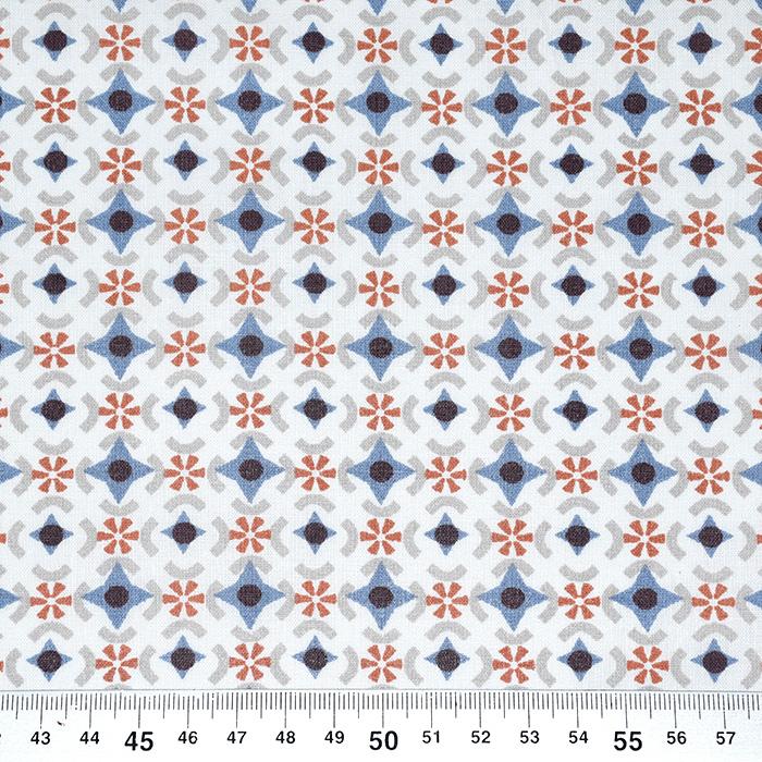 Bombaž, poplin, geometrijski, 20781-2, rjava
