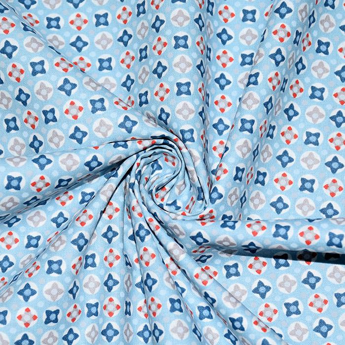 Bombaž, poplin, geometrijski, 20790-3, modra